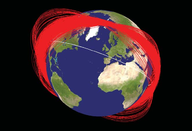 Known orbit planes of Fengyun-1C debris one month after its disintegration by a Chinese interceptor. The white orbit represents the International Space Station. Credit: NASA Orbital Debris Program Office [Public domain], via Wikimedia Commons.