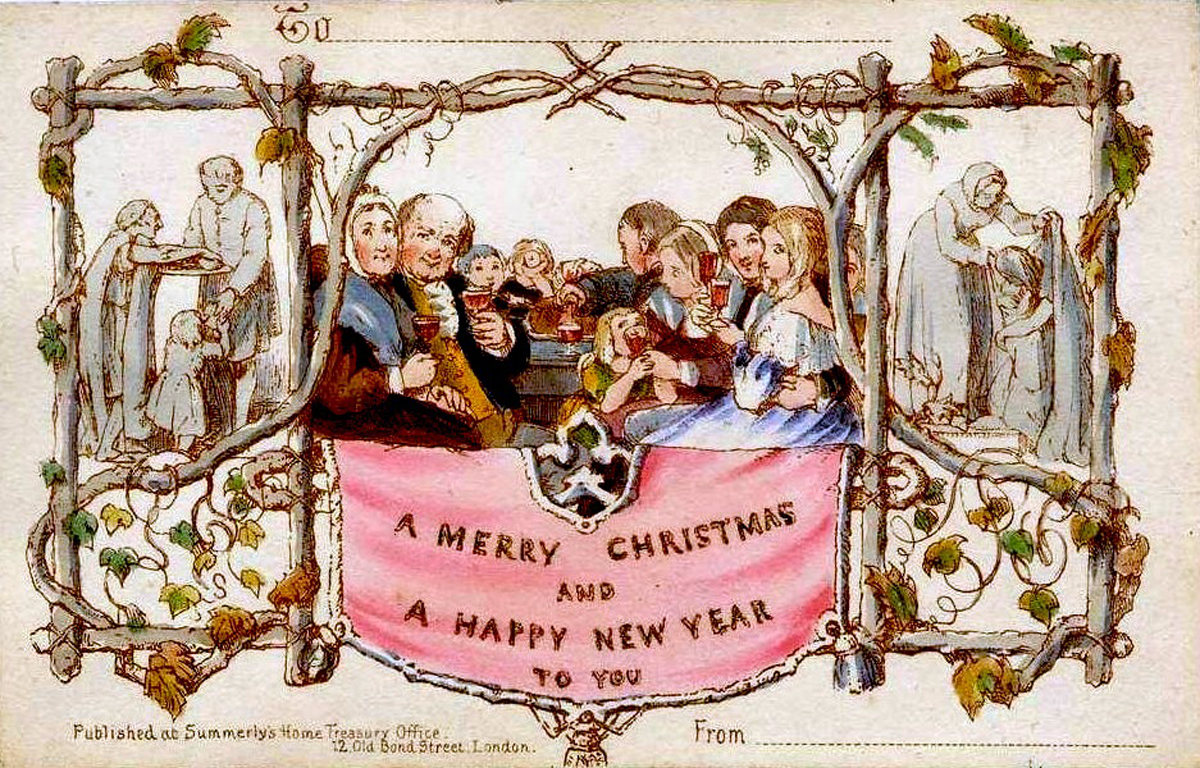 The world's first commercially produced Christmas card, designed by John Callcott Horsley for Henry Cole in 1843. (Source: Wikimedia Commons. Published before 1923 and public domain in the US.)