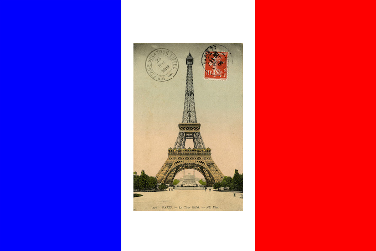 EiffelTower Postcard-French Flag
