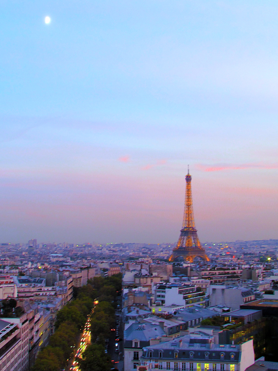 Dusk atop the Arc de Triomphe with Eiffel Tower in Distance - Photo by Eric F. Frazier