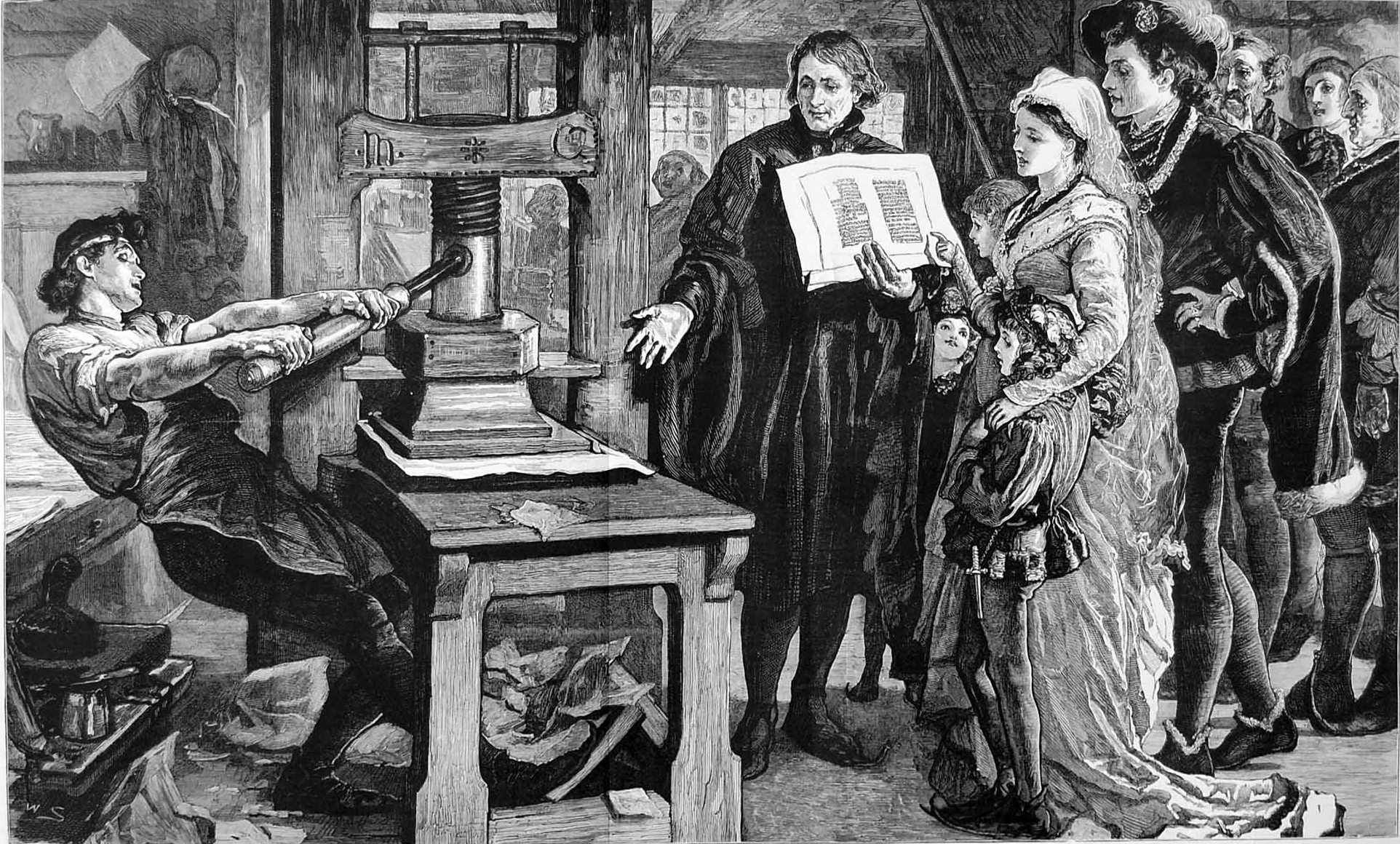 Early media. William Caxton showing specimens of his printing to King Edward IV and his Queen.