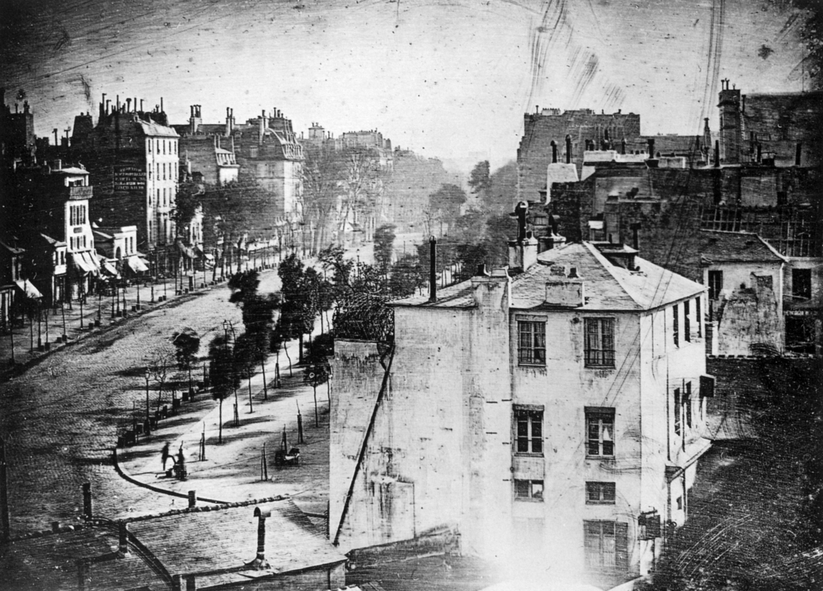 Louis Daguerre, a father of photography, made this photo of the Boulevard du Temple in 1838. The only people visible are standing still.