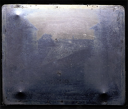 Photography has come a long way. The original tin plate of Joseph Nicéphore Niépce's View from the Window at Le Gras in 1826 or 1827. Photo by J. Paul Getty Museum