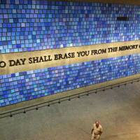 A quote by Virgil inscribed on the wall a the Natinoal September 11 Memorial and Museum