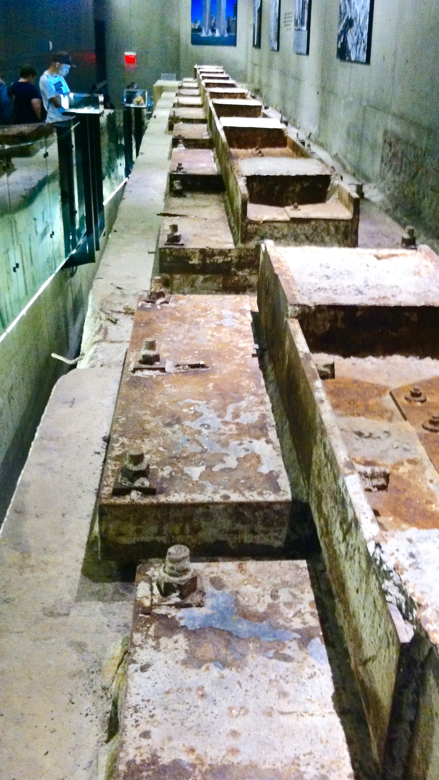 Stubs of steel girders are all that remain of the base of the Twin Towers' foundation