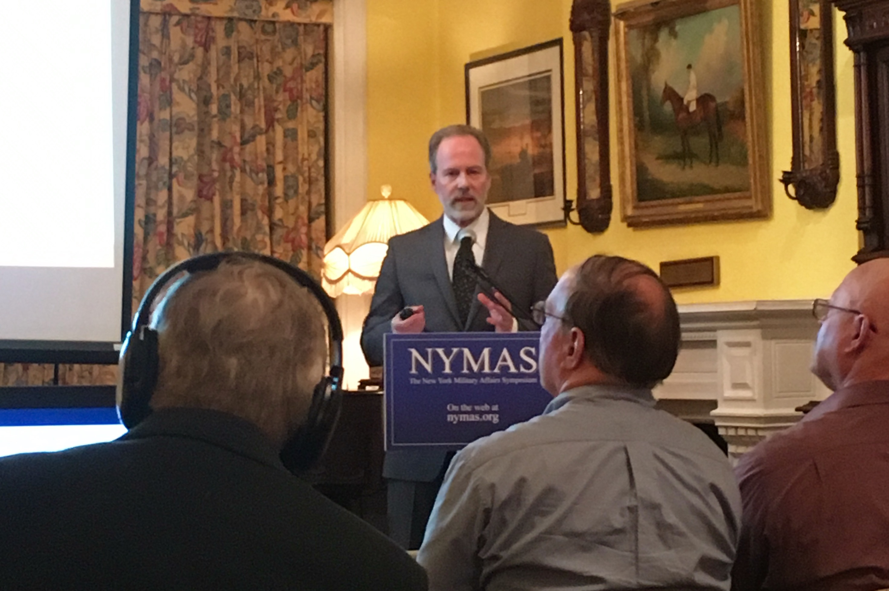 Eric F. Frazier speaks at the New York Military Affairs Symposium May 5, 2017. The videotaped talk is available for viewing on C-SPAN.