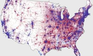 Using one dot per vote to display where voters cast their ballots produces a more realistic picture of poltical reality than Electoral College maps.