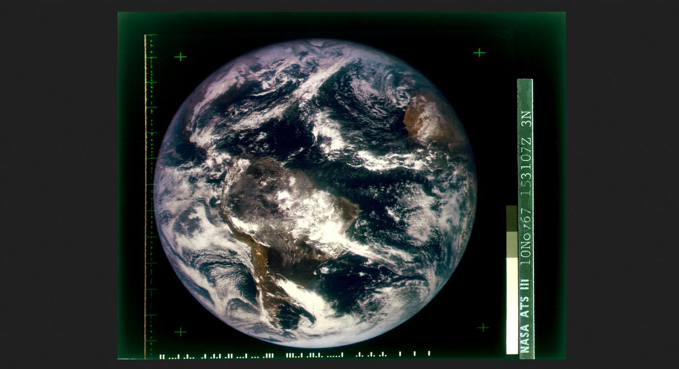 The first full-disk, color photograph of earth from space provided a perspective that transformed humanity's understanding of our place in the cosmos and our relationship with the planet. NASA's ATS-3 weather satellite transmitted the image from geostationary orbit, an altitude of about 22,236 miles, on November 10, 1967, a year before Apollo 8 ventured to the moon.