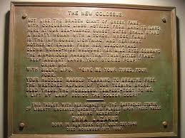 "This cast bronze plaque of the Emma Lazarus poem The New Colossus"" was installed inside the pedestal of the Statue of Liberty in 1903. Photo credit: National Park Service"