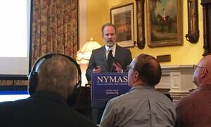 Eric F. Frazier speaks at the New York Military Affairs Symposium May 5, 2017.